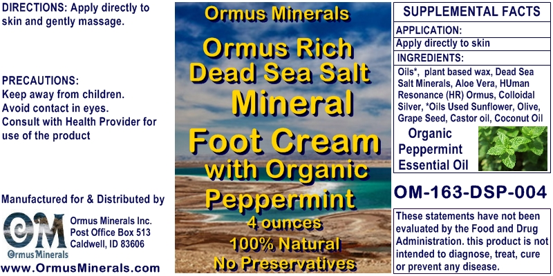 Ormus Minerals Ormus Rich Dead Sea Salt Mineral Foot Cream