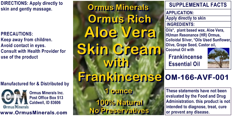 Ormus Minerals Ormus Rich Aloe Vera Skin Cream with Frankincense